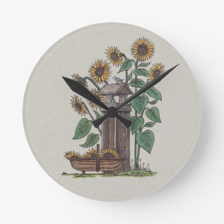 Sunflowers Birdfeeder & Blue Bird Round Clock