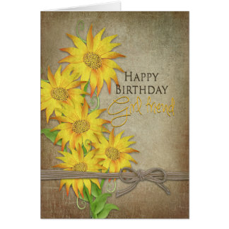 Sunflowers - Birthday - Girlfriend Card