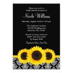 "Sunflowers Black and White Damask Bridal Shower 5"" X 7"" Invitation Card"