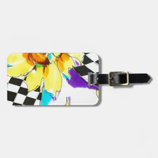 Sunflowers & Black with White Luggage Tag