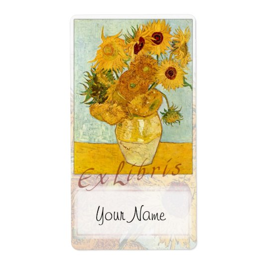 """Sunflowers Book Plate """"Ex Libris"""" - Updated Shipping Label"""