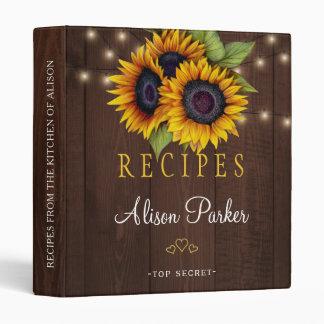 Sunflowers bouquet barn wood rustic recipes vinyl binder