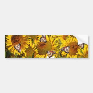 Sunflowers Butterfly Flowers Floral Bumper Sticker