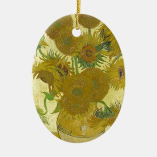 Sunflowers By Vincent Van Gogh Ceramic Oval Ornament