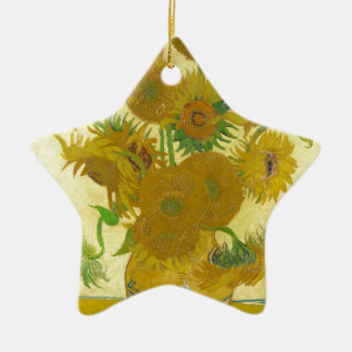 Sunflowers by Vincent van Gogh Ceramic Star Ornament