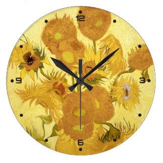 Sunflowers by Vincent van Gogh Large Clock