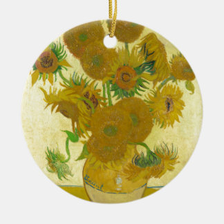 Sunflowers by Vincent van Gogh Round Ceramic Ornament