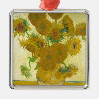 Sunflowers by Vincent van Gogh Silver-Colored Square Ornament