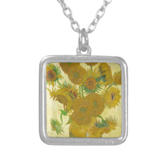 Sunflowers by Vincent van Gogh Silver Plated Necklace