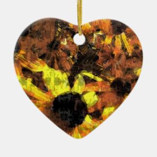 Sunflowers Ceramic Heart Ornament