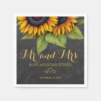 Sunflowers chalkboard mr and mrs script wedding napkin
