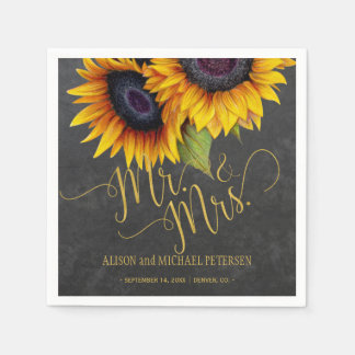 Sunflowers chalkboard mr and mrs script wedding paper napkin