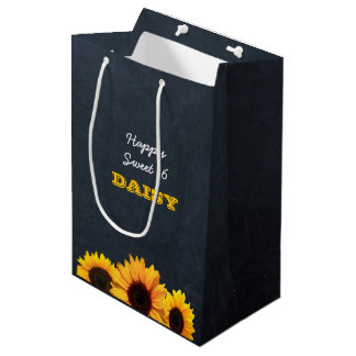 Sunflowers & Chalkboard Personalized Gift Bag