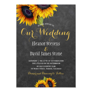 Sunflowers ckalkboard fall trendy wedding card