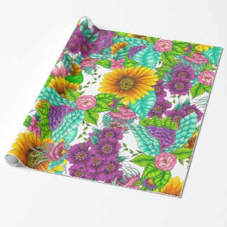 Sunflowers colorful watercolor floral hand drawn wrapping paper