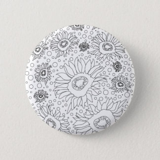 Sunflowers Coloring Page 2 Inch Round Button