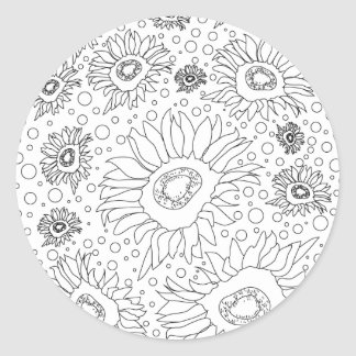 Sunflowers Coloring Page Classic Round Sticker