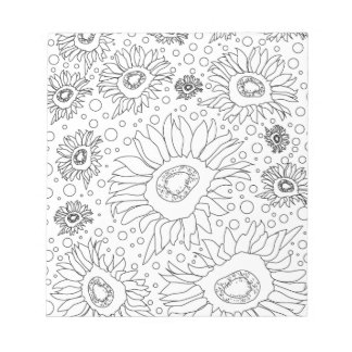 Sunflowers Coloring Page Notepad