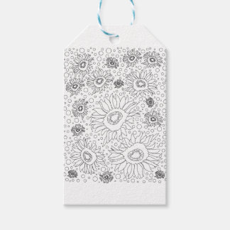 Sunflowers Coloring Page Pack Of Gift Tags