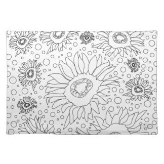 Sunflowers Coloring Page Placemat