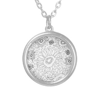 Sunflowers Coloring Page Silver Plated Necklace
