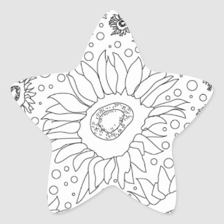 Sunflowers Coloring Page Star Sticker