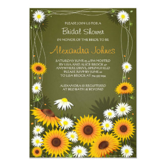 Sunflowers & Daisies Floral Bridal Shower Green Card