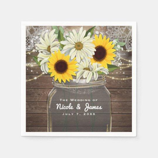 Sunflowers & Daisies Mason Jar Sparkle Rustic Chic Paper Napkins