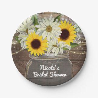 Sunflowers & Daisies Mason Jar Sparkle Rustic Chic Paper Plate