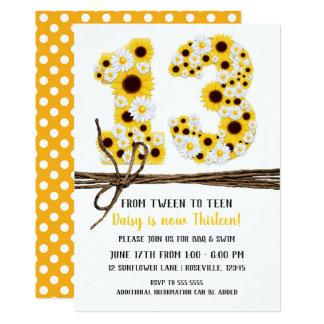 Sunflowers & Daisies THIRTEEN 13 13TH Birthday Card