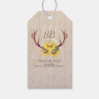 Sunflowers Deer Antlers Rustic Country Wedding Gift Tags