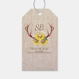 Sunflowers Deer Antlers Rustic Country Wedding Pack Of Gift Tags
