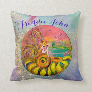 SUNFLOWERS FAIRY PINK BLUE FLORAL Boy Baby Status Throw Pillow