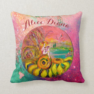 SUNFLOWERS FAIRY PINK FLORAL Girl Baby Status Throw Pillow
