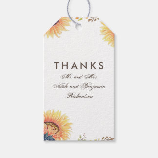 Sunflowers Fall Wedding Gift Tags