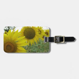 Sunflowers field Luggage Tag w/ leather strap