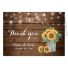 Sunflowers Floral Mason Jar Lights Thank You Card