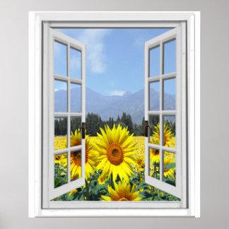 Sunflowers Garden Faux Artificial Window View Poster