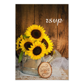 "Sunflowers Garden Watering Can Wedding RSVP Card 3.5"" X 5"" Invitation Card"
