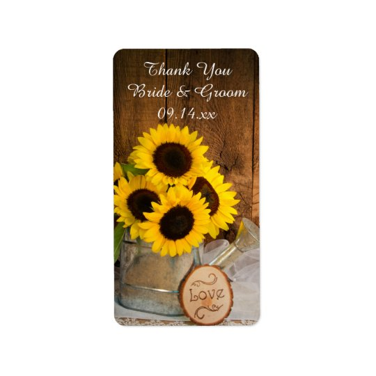 Sunflowers Garden Watering Can Wedding Thank You