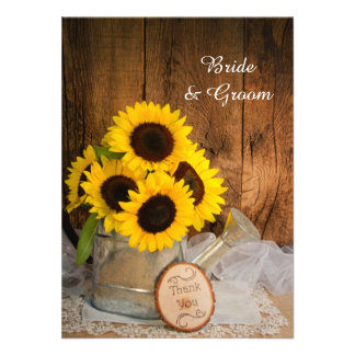 Sunflowers Garden Watering Can Wedding Thank You Invitation