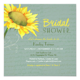 Sunflowers Grayed Jade Bridal Shower Card
