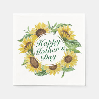Sunflowers Happy Mother's Day Floral Frame Napkin Paper Napkins