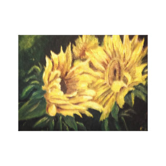Sunflowers in a dark glade canvas print