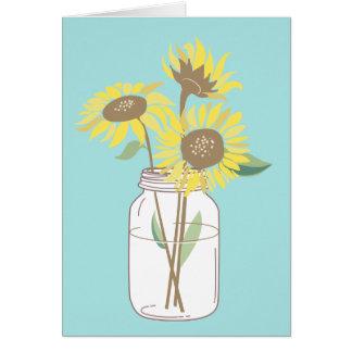 Sunflowers in a mason jar card