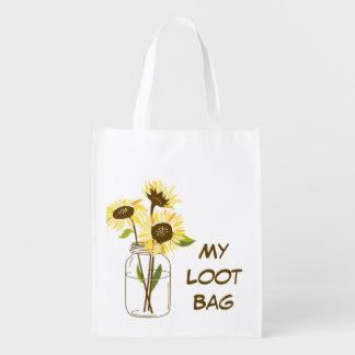 Sunflowers In A Mason Jar Shopping Bag