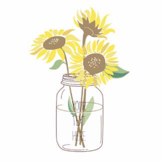 Sunflowers in a Mason Jar Standing Photo Sculpture