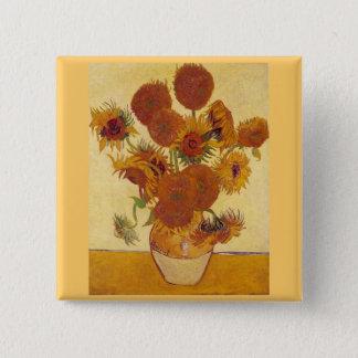 Sunflowers in a Vase (F454) Van Gogh Fine Art 2 Inch Square Button