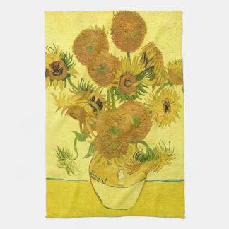 Sunflowers in a Vase Van Gogh Fine Art Kitchen Towel