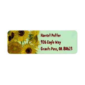 Sunflowers in a Vase Van Gogh Fine Art Return Address Label